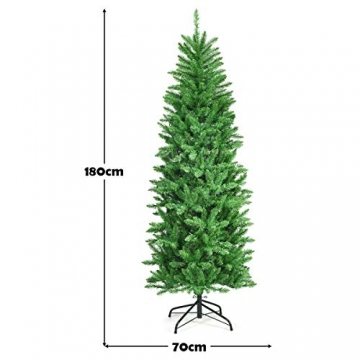 COSTWAY 150/180/210cm Bleistift Weihnachtsbaum mit warmweißen LED-Leuchten, künstlicher Tannenbaum mit Klappsystem und Metallständer, Christbaum PVC Nadeln, Kunstbaum Weihnachten Grün(180cm) - 8