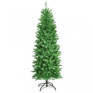 COSTWAY 150/180/210cm Bleistift Weihnachtsbaum mit warmweißen LED-Leuchten, künstlicher Tannenbaum mit Klappsystem und Metallständer, Christbaum PVC Nadeln, Kunstbaum Weihnachten Grün(180cm) - 9