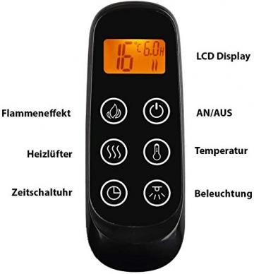 CrownFlame Elektrokamin Phanos - Elektrischer Standkamin Mit Heizung, LED-Beleuchtung, 3D-Flammeneffekt & Fernbedienung - Elektrischer Kamin - Weiß - 7