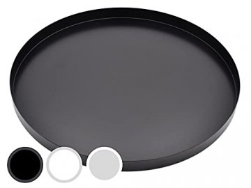 D&D Living Deko Tablett Rund Ø 30 cm | Design Dekoteller und Dekotablett aus Metall (Schwarz matt) - 1
