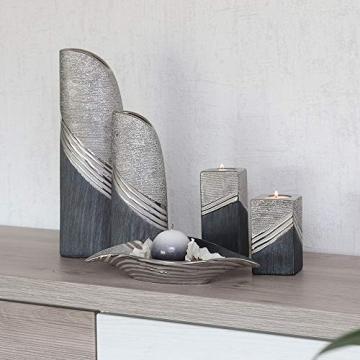 Dekohelden24 Edle Moderne Deko Designer Keramik Schale/Platte/Naschschale/Dekoschale in Silber-grau, 30 cm - 3