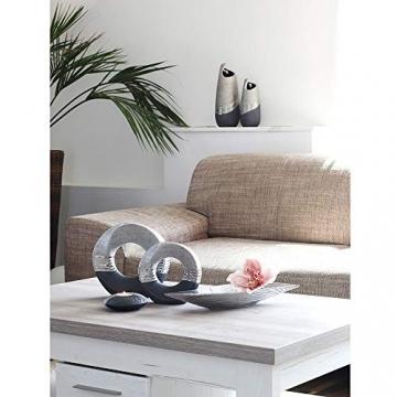 Dekohelden24 Edle Moderne Deko Designer Keramik Schale/Platte/Naschschale/Dekoschale in Silber-grau, 30 cm - 4