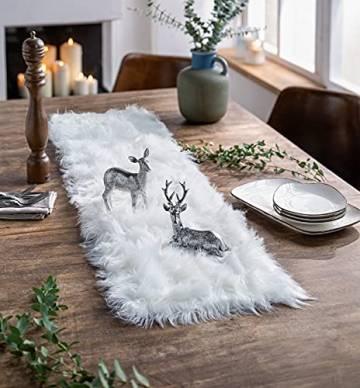 Dekoleidenschaft Tischläufer aus Kunstfell in Creme/weiß, 30 x 120 cm, Tischband, Mitteldecke - 1