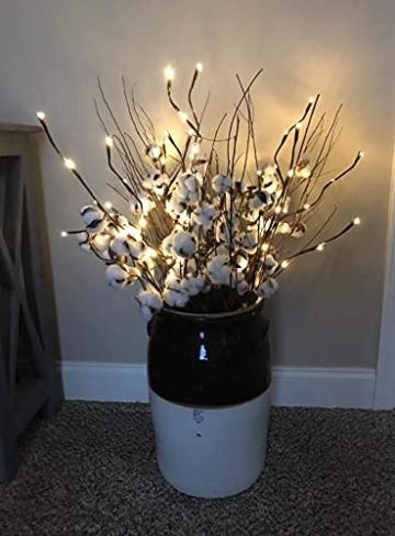 EAMBRITE 3er Set Lichterbaum Aussen Innen 60LEDs Wasserdichte Lichterzweige 76CM Warmweißes Zweiglicht Braun mit Netzstrom Betriebene LED Lampe Zweige Dekoration für Weihnachten Ostern Halloween - 8