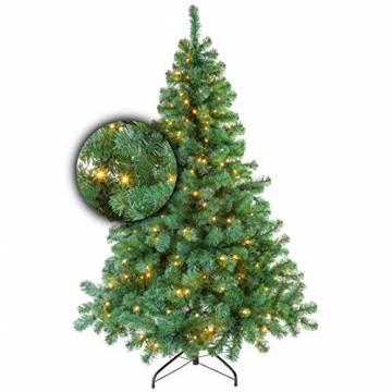 Excellent Trees Künstlicher Weihnachtsbaum Tannenbaum Christbaum Grün LED Stavanger Green 180 cm mit Beleuchtung, 350 Lämpchen Beleuchtet, Luxe Kuenstlicher Christbaum - 1