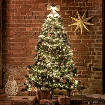 FairyTrees künstlicher Weihnachtsbaum Kiefer, Natur-Weiss beschneit, Material PVC, echte Tannenzapfen, inkl. Holzständer, 180cm, FT04-180 - 3