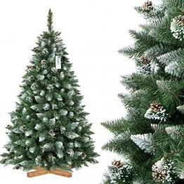 FairyTrees künstlicher Weihnachtsbaum Kiefer, Natur-Weiss beschneit, Material PVC, echte Tannenzapfen, inkl. Holzständer, 180cm, FT04-180 - 1