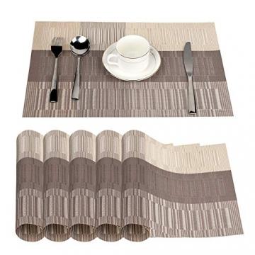 Fontic 6er Set Platzsets 30x45cm Platzdeckchen Rutschfest Abwaschbar Tischmatten PVC Abgrifffeste Hitzebeständig Tischsets, Platz-Matten für küche - 2