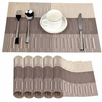 Fontic 6er Set Platzsets 30x45cm Platzdeckchen Rutschfest Abwaschbar Tischmatten PVC Abgrifffeste Hitzebeständig Tischsets, Platz-Matten für küche - 1