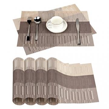 Fontic 6er Set Platzsets 30x45cm Platzdeckchen Rutschfest Abwaschbar Tischmatten PVC Abgrifffeste Hitzebeständig Tischsets, Platz-Matten für küche - 8