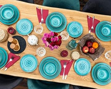 Geschirrset 24-teilig aus Porzellan für 6 Personen | Tiefe Suppenteller, Flache Essteller, Dessertteller und Schüsseln | Hochwertiges modernes Vintage Tafelservice Kombiservice | Türkis schwarz - 4