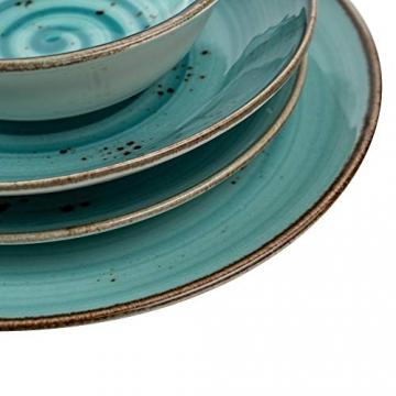 Geschirrset 24-teilig aus Porzellan für 6 Personen | Tiefe Suppenteller, Flache Essteller, Dessertteller und Schüsseln | Hochwertiges modernes Vintage Tafelservice Kombiservice | Türkis schwarz - 6