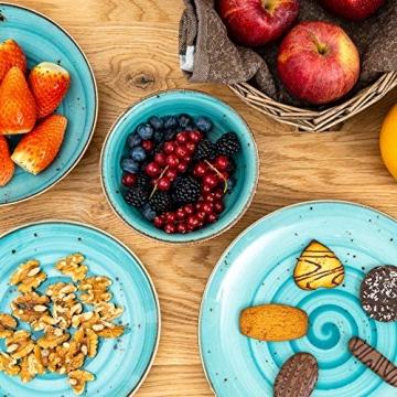 Geschirrset 24-teilig aus Porzellan für 6 Personen | Tiefe Suppenteller, Flache Essteller, Dessertteller und Schüsseln | Hochwertiges modernes Vintage Tafelservice Kombiservice | Türkis schwarz - 7