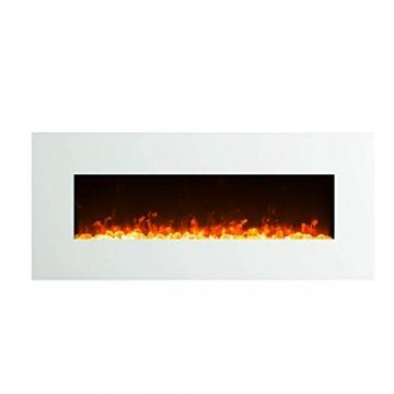 GLOW FIRE Elektrokamin mit Heizung, Wandkamin mit LED | Künstliches Feuer mit zuschaltbarem Heizlüfter: 750/1500 W | Fernbedienung (Größe L - 126 cm, Weiß) - 2