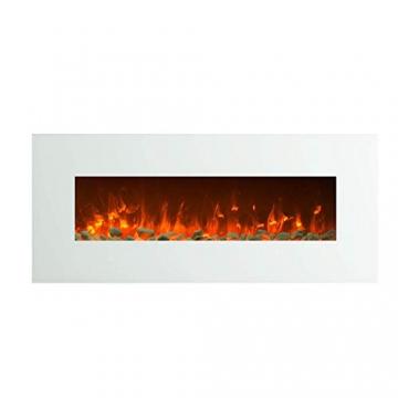 GLOW FIRE Elektrokamin mit Heizung, Wandkamin mit LED | Künstliches Feuer mit zuschaltbarem Heizlüfter: 750/1500 W | Fernbedienung (Größe L - 126 cm, Weiß) - 3