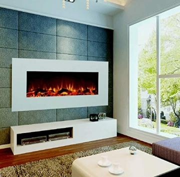 GLOW FIRE Elektrokamin mit Heizung, Wandkamin mit LED | Künstliches Feuer mit zuschaltbarem Heizlüfter: 750/1500 W | Fernbedienung (Größe L - 126 cm, Weiß) - 4