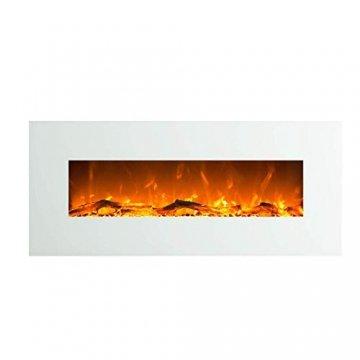 GLOW FIRE Elektrokamin mit Heizung, Wandkamin mit LED | Künstliches Feuer mit zuschaltbarem Heizlüfter: 750/1500 W | Fernbedienung (Größe L - 126 cm, Weiß) - 1