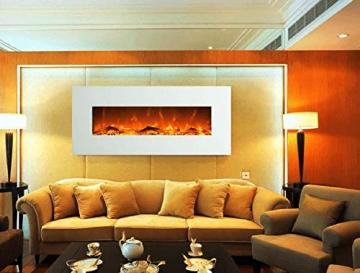 GLOW FIRE Elektrokamin mit Heizung, Wandkamin mit LED | Künstliches Feuer mit zuschaltbarem Heizlüfter: 750/1500 W | Fernbedienung (Größe L - 126 cm, Weiß) - 5