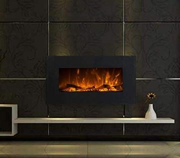 GLOW FIRE Neptun Elektrokamin mit Heizung, Wandkamin mit LED | Künstliches Feuer mit zuschaltbarem Heizlüfter: 750/1500 W | Fernbedienung, 84 cm, Schwarz - 2