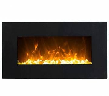 GLOW FIRE Neptun Elektrokamin mit Heizung, Wandkamin mit LED | Künstliches Feuer mit zuschaltbarem Heizlüfter: 750/1500 W | Fernbedienung, 84 cm, Schwarz - 1