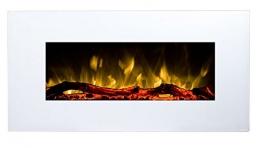 GLOW FIRE Neptun Elektrokamin mit Heizung, Wandkamin mit LED   Künstliches Feuer mit zuschaltbarem Heizlüfter: 750/1500 W   Fernbedienung, 84 cm, Weiß - 1