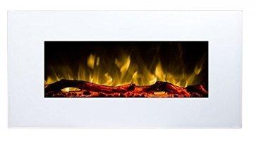 GLOW FIRE Neptun Elektrokamin mit Heizung, Wandkamin mit LED | Künstliches Feuer mit zuschaltbarem Heizlüfter: 750/1500 W | Fernbedienung, 84 cm, Weiß - 1