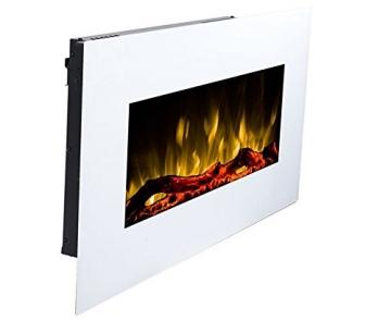 GLOW FIRE Neptun Elektrokamin mit Heizung, Wandkamin mit LED | Künstliches Feuer mit zuschaltbarem Heizlüfter: 750/1500 W | Fernbedienung, 84 cm, Weiß - 2
