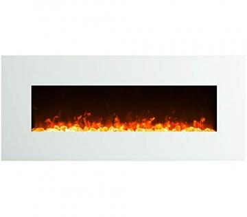 GLOW FIRE Venus Elektrokamin mit Heizung, Wandkamin mit LED | Künstliches Feuer mit zuschaltbarem Heizlüfter: 750/1500 W | Fernbedienung, 126 cm, Weiß - 2