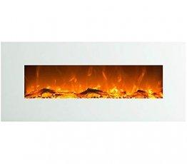 GLOW FIRE Venus Elektrokamin mit Heizung, Wandkamin mit LED   Künstliches Feuer mit zuschaltbarem Heizlüfter: 750/1500 W   Fernbedienung, 126 cm, Weiß - 1