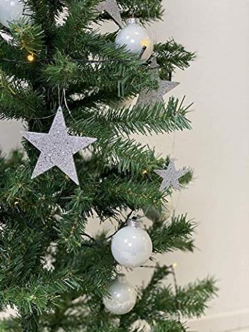 havalime Künstlicher Weihnachtsbaum, Christbaum - Ausklappbare Zweige aus PVC, Stamm aus Metall, inklusive Plastikfuß (210 cm) - 3