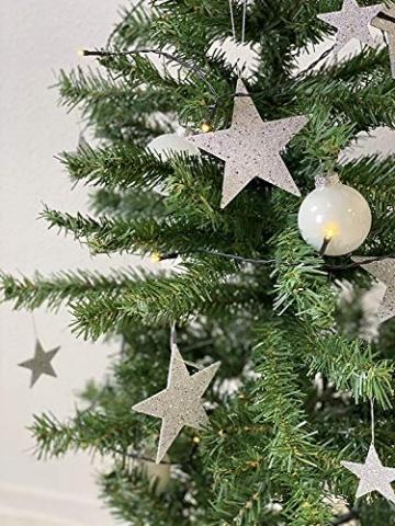 havalime Künstlicher Weihnachtsbaum, Christbaum - Ausklappbare Zweige aus PVC, Stamm aus Metall, inklusive Plastikfuß (210 cm) - 4