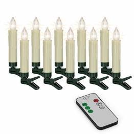 Hellum 530209 LED Weihnachtsbaumkerzen kabellos, 10x warmweiß LED Kerzen mit Fernbedienung, batteriebetriebene 9x1,5cm Christbaumkerzen ohne Kabel, dimmbar mit Flackermodus, Wachstropfen - 1