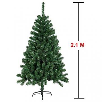 HENGMEI 210cm PVC Weihnachtsbaum Tannenbaum Christbaum Grün künstlicher mit Metallständer ca. 750 Spitzen Lena Weihnachtsdeko (Grün PVC, 210cm) - 2