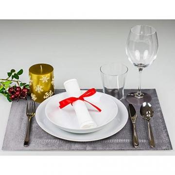 Hivexagon Platzsets und Tischläufer Set, Ellegant Tischdekoration für Hochzeit, Party, Thanksgiving,Weihnachten, mit Diamante Streifen und Quasten, Grau HG575 - 8
