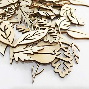 Holzscheiben Holz Blätter Deko Blätter Form Holzscheiben Hohlen Design Holz Anhänger Hochzeit Basteln Baumschmuck Holz für DIY Handwerk Dekohänger Hochzeit Weihnachten Blatt Formen Dekoration 50PCS - 6