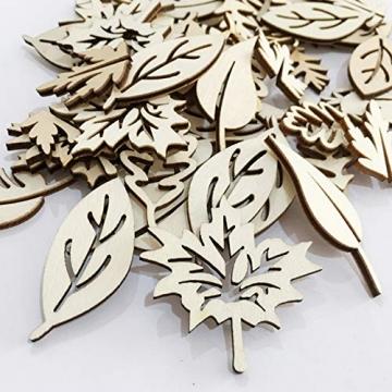 Holzscheiben Holz Blätter Deko Blätter Form Holzscheiben Hohlen Design Holz Anhänger Hochzeit Basteln Baumschmuck Holz für DIY Handwerk Dekohänger Hochzeit Weihnachten Blatt Formen Dekoration 50PCS - 7