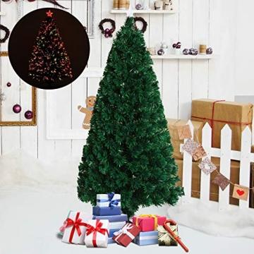 HOMCOM Weihnachtsbaum künstlicher Christbaum Tannenbaum LED Lichtfaser Baum mit Metallständer, Glasfaser-Farbwechsler, grün, 150 cm - 2