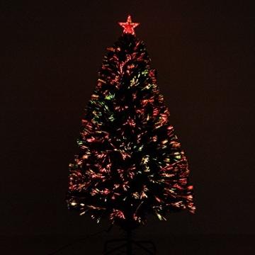 HOMCOM Weihnachtsbaum künstlicher Christbaum Tannenbaum LED Lichtfaser Baum mit Metallständer, Glasfaser-Farbwechsler, grün, 150 cm - 3