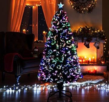 HOMCOM Weihnachtsbaum künstlicher Christbaum Tannenbaum LED Lichtfaser Baum mit Metallständer, Glasfaser-Farbwechsler, grün, 150 cm - 4