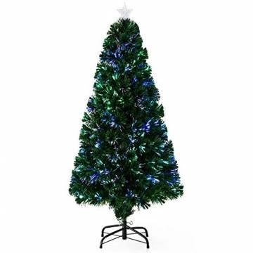 HOMCOM Weihnachtsbaum künstlicher Christbaum Tannenbaum LED Lichtfaser Baum mit Metallständer, Glasfaser-Farbwechsler, grün, 150 cm - 1