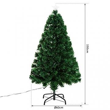 HOMCOM Weihnachtsbaum künstlicher Christbaum Tannenbaum LED Lichtfaser Baum mit Metallständer, Glasfaser-Farbwechsler, grün, 150 cm - 5