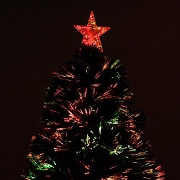 HOMCOM Weihnachtsbaum künstlicher Christbaum Tannenbaum LED Lichtfaser Baum mit Metallständer, Glasfaser-Farbwechsler, grün, 150 cm - 6