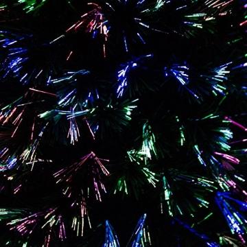 HOMCOM Weihnachtsbaum künstlicher Christbaum Tannenbaum LED Lichtfaser Baum mit Metallständer, Glasfaser-Farbwechsler, grün, 150 cm - 7