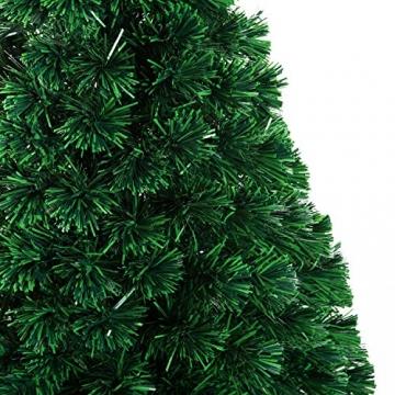 HOMCOM Weihnachtsbaum künstlicher Christbaum Tannenbaum LED Lichtfaser Baum mit Metallständer, Glasfaser-Farbwechsler, grün, 150 cm - 8