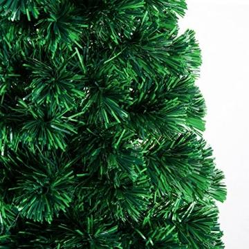 HOMCOM Weihnachtsbaum künstlicher Christbaum Tannenbaum LED Lichtfaser Baum mit Metallständer, Glasfaser-Farbwechsler, grün, 150 cm - 9