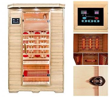 Home Deluxe – Infrarotkabine – Redsun M – Vollspektrumstrahler – Holz: Hemlocktanne - Maße: 120 x 105 x 190 cm   Infrarotsauna für 2 Personen, Infrarot, Kabine - 2