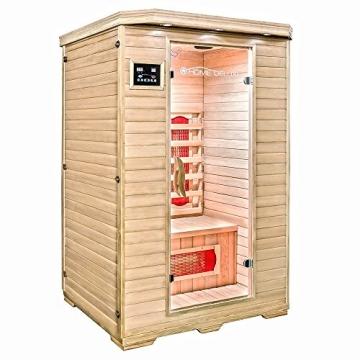 Home Deluxe – Infrarotkabine – Redsun M – Vollspektrumstrahler – Holz: Hemlocktanne - Maße: 120 x 105 x 190 cm   Infrarotsauna für 2 Personen, Infrarot, Kabine - 3