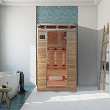 Home Deluxe – Infrarotkabine – Redsun M – Vollspektrumstrahler – Holz: Hemlocktanne - Maße: 120 x 105 x 190 cm   Infrarotsauna für 2 Personen, Infrarot, Kabine - 5