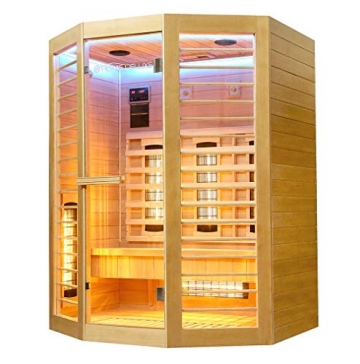 Home Deluxe – Infrarotkabine Redsun XL Deluxe - Vollspektrumstrahler und Karbon-Flächenstrahler, Holz: Hemlocktanne, Maße: 155 x 120 x 190 cm   Infrarotsauna für 2-3 Personen, Infrarot, Kabine - 3