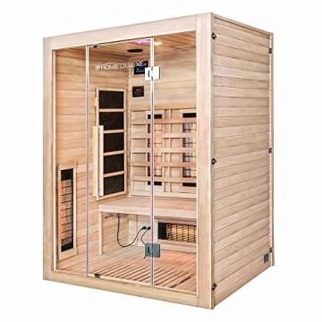 Home Deluxe – Infrarotkabine Sahara L – Vollspektrumstrahler, Holz: Hemlocktanne, Maße: 150 x 120 x 190 cm   Infrarotsauna für 2-3 Personen, Sauna, Infrarot, Kabine - 3